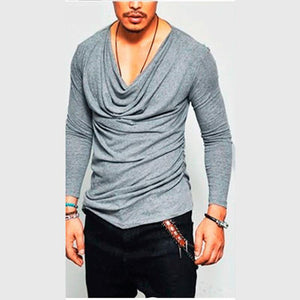 Solid Color Long Sleeve Pleated T-Shirt Male