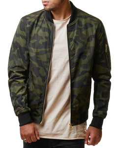 Fashion Lapel Camouflage Zipper Slim Coat