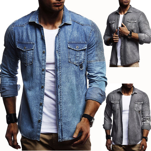 Casual Pleated Denim Shirt