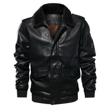 Load image into Gallery viewer, Vintage PU leather flight jacket