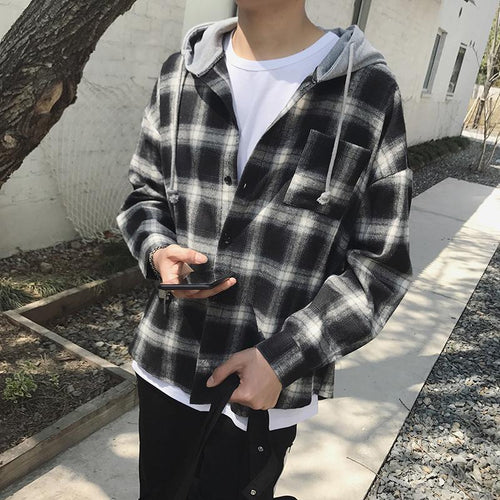 Retro plaid hooded jacket