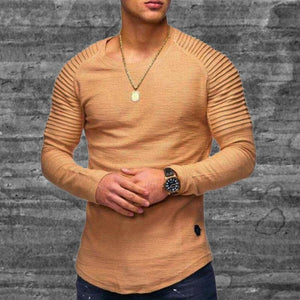 Round neck slim pleated long T-shirts