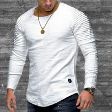 Load image into Gallery viewer, Round neck slim pleated long T-shirts