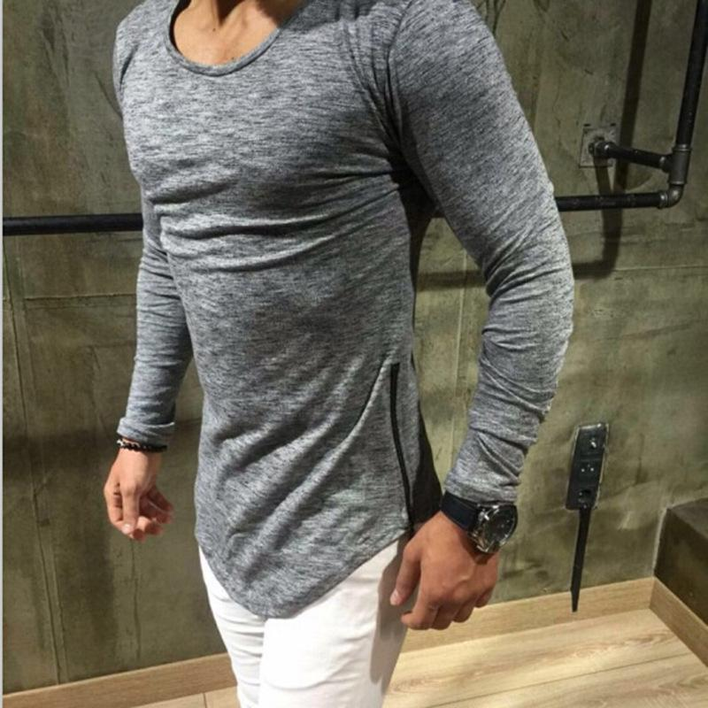 Explosion models men cultivating long-sleeved T-shirt solid color hot arc hem shirt