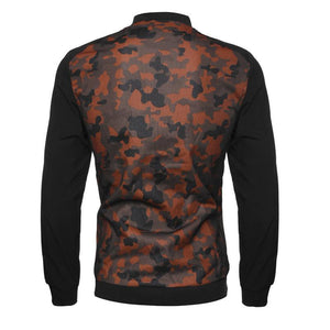 Fashionable hollow out stand up collar camouflage casual jacket