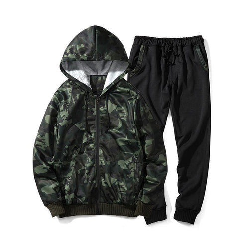 Camouflage Sweater Casual Sports Suit Thick Sweater Set