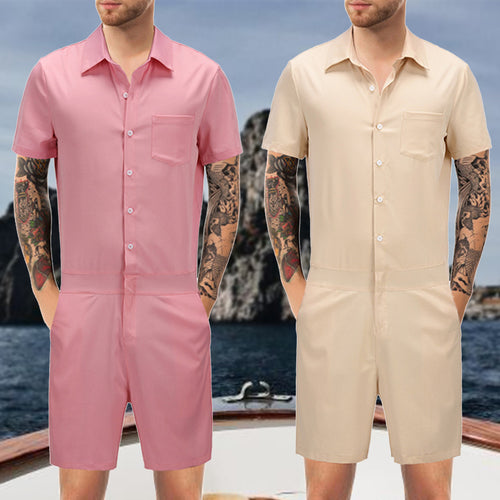 Men's Pink Overalls Jumpsuit