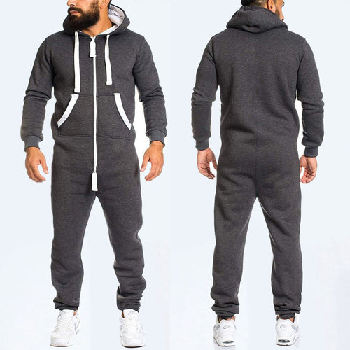 Casual Plain Zipper Design Sport Jumpsuit