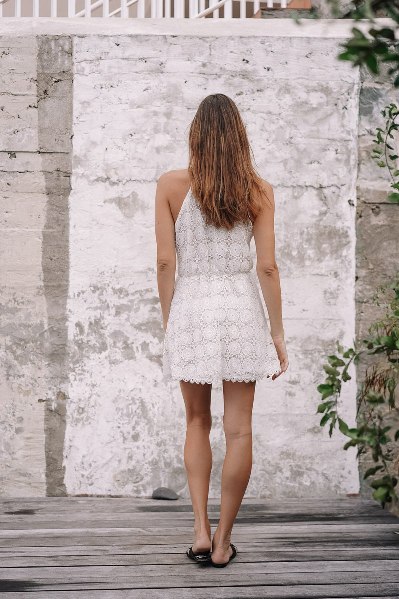 AGLAE LACE CROCHET MINI DRESS