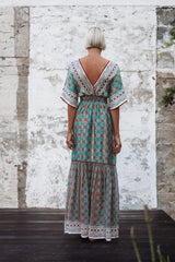 AKEMI MIX SILK MAXI DRESS