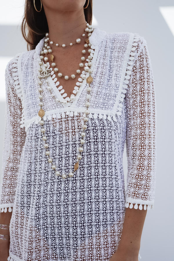 CIRIANA LACE CROCHET COTTON TUNIC