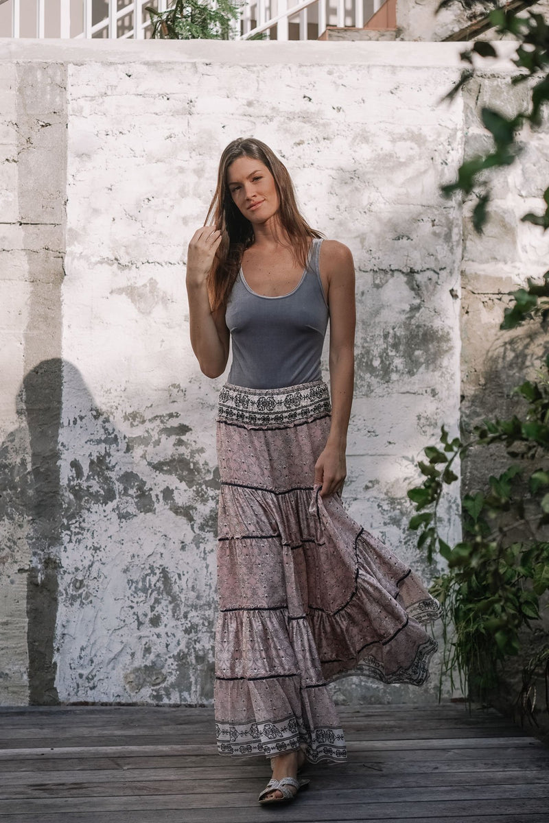 MANOLITA SATIN MIX SILK MAXI SKIRT