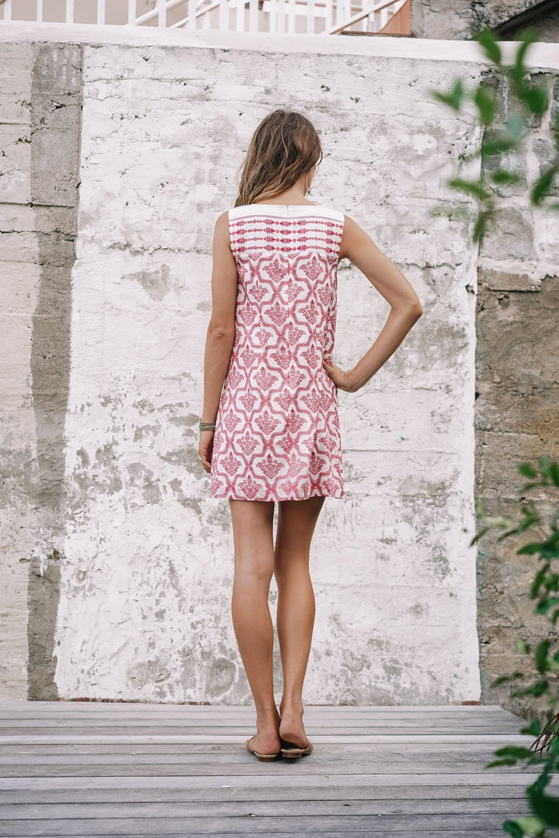 JULIETTE DAMASK PINK DRESS - LIMITED EDITION