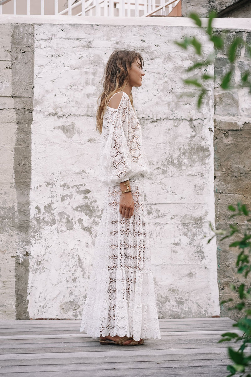 MANOLITA LACE CROCHET MAXI SKIRT