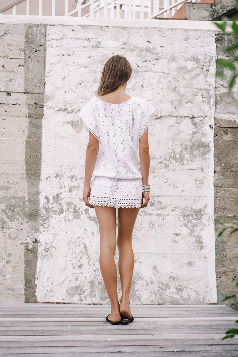 PALOMA EYELET COTTON MINI DRESS