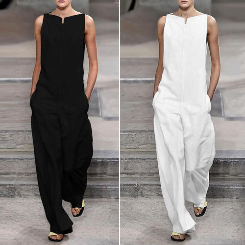 Fashion Solid Color Loose Jumpsuits (Black & White)