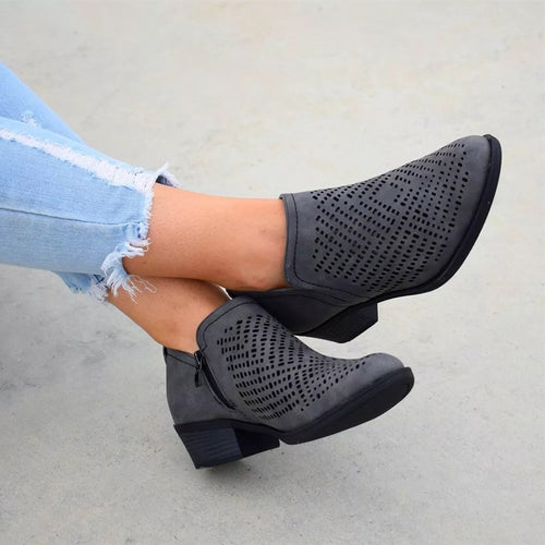 Fashion Hollow Out Coarse Heel Low Boots