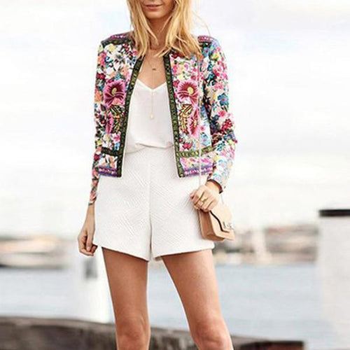 Women's Cardigan Jacket Floral Printed Coat Outwear