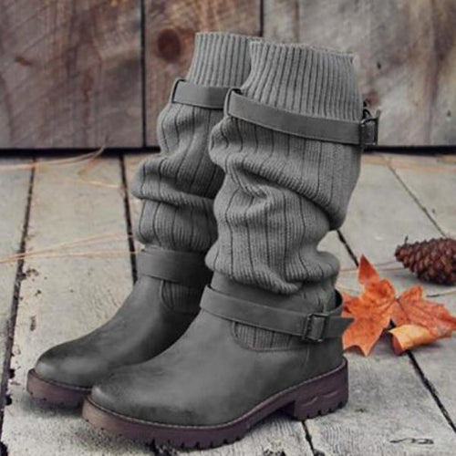 Solid Color Warm Wool Knit Boots