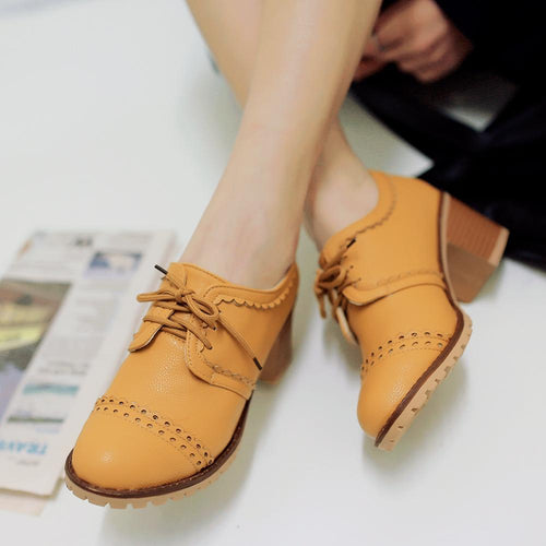 Fashion Round Head Plain Blinding Coarse Heel Shoes