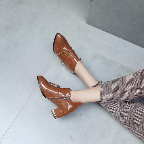 Fashion Coarse Heel Pointed Head  Short Boots