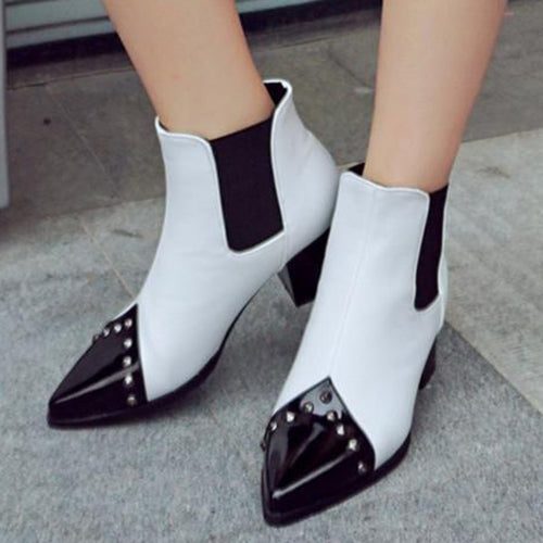 Fashion Studded Pointed Lacquered Color Stitching Boots