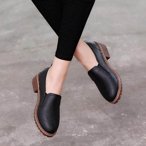 Women Leather Lace-Up Anti-Skid Flat Heel Casual Bullock Shoes
