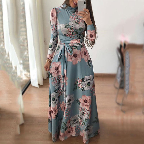 Fashion Autumn And Winter Printing Long Dress
