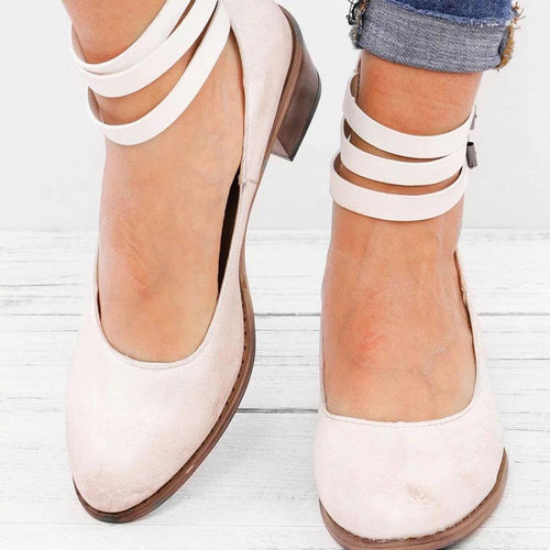Fashion Plain Round Head Coarse Heel Sandal With Buckle
