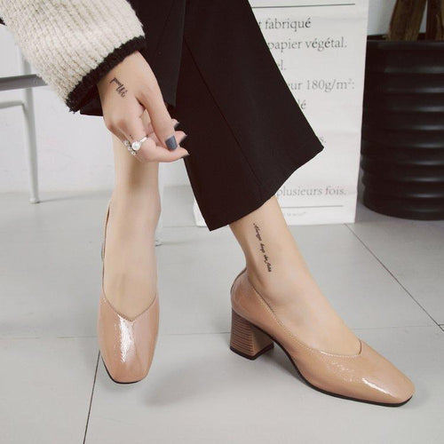 Fashion Plain Coarse Heel High Heel Shoes