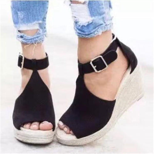 Fashion Wedge Heel Plain High Heel Straw Weaving Sandal