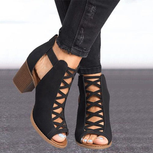 New Thick Heel High Heel Fish Mouth Hollow Large Size Buckle Sandals