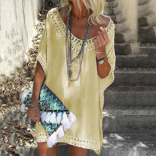 V-Neck Bikini Smock Beach Dress
