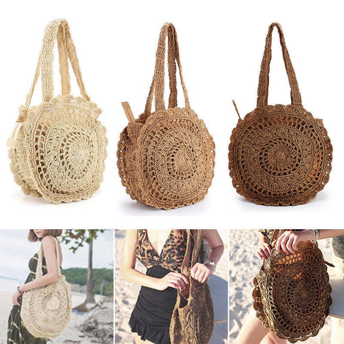 Soft Paper Rope Crochet Round Straw Weaving Bags