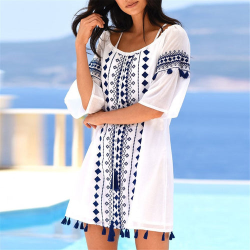 Casual Neckline Drawstring Fringe Decorated Printed Smock Dress