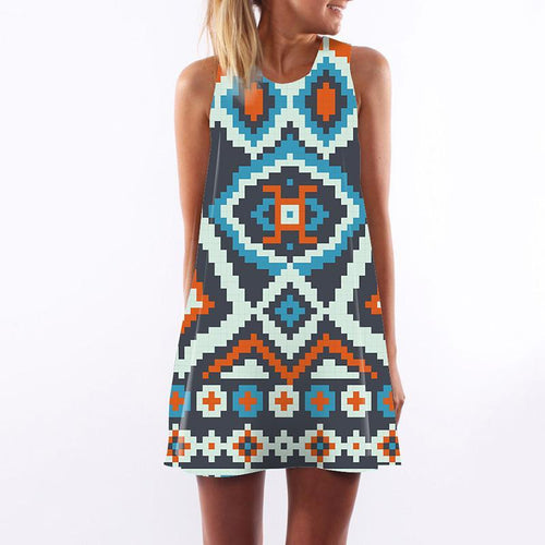 Bohemian Round Neck Printed Colour Sleeveless Dress