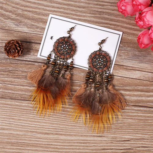 Feather Retro Round Cutout Earrings