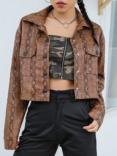Fold-Over Collar Flap Pocket Quilted Animal Printed Jackets