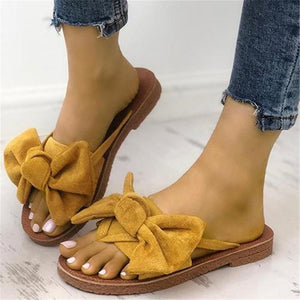 8b673391d Bow-Toe Flat-Bottomed Slippers