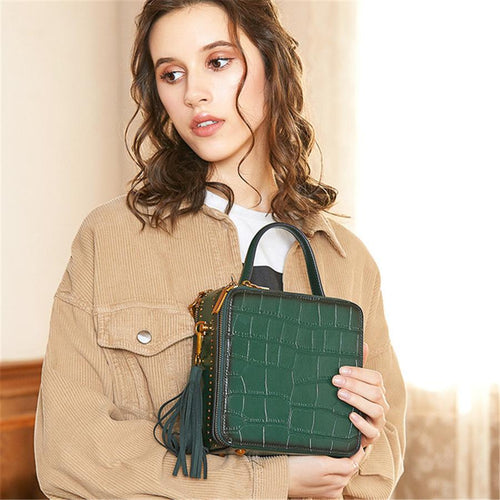 Leather retro mini crossbody small square bag