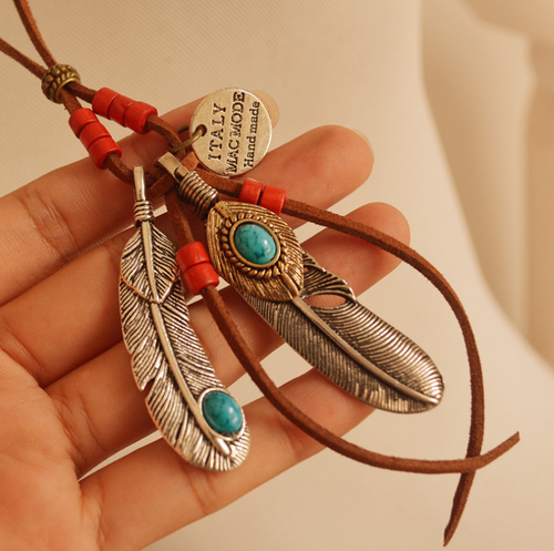 Ethnic style feathers leaves tassels wood beads long necklace