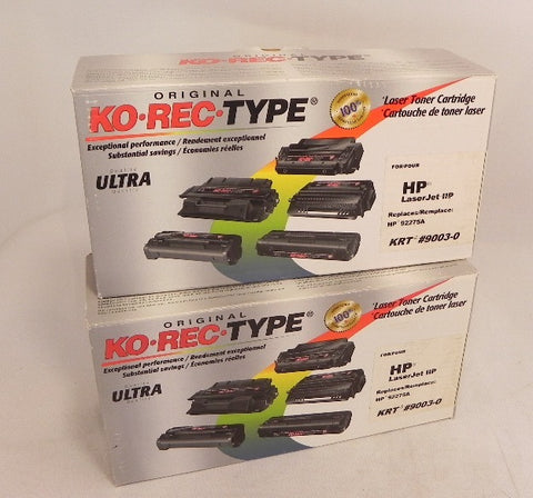 Ko-Rec-Type Laser Toner Cartridge KRT 9003-0 (lot of 2) HP 92275A