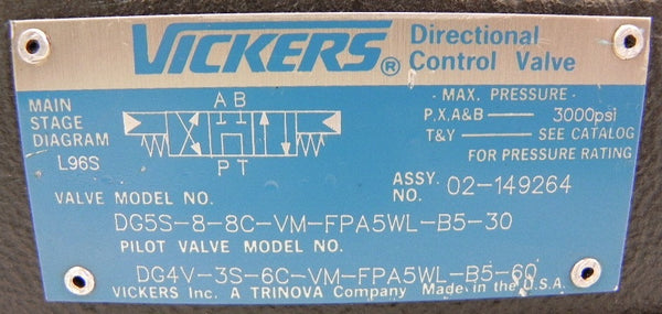 Vickers Directional Control Valve DG5S88CVMFPA5WLB530 on vickers hydraulic control valve parts, vickers vane pump diagram, cross hydraulic valve diagram,