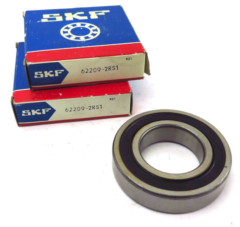 SKF Sealed Deep Groove Ball Bearing 6209-2RS1 45mm Bore 85mm O.D (Lot of 2)