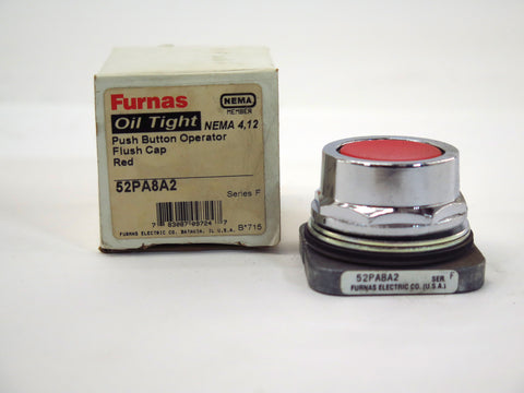 Furnas 52PA8A2 Oil Tight Red Push Button Operator Flush Cap NEMA 4 12