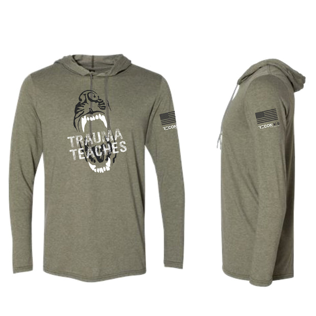 """Trauma Teaches"" Long Sleeve Hooded T-Shirt"