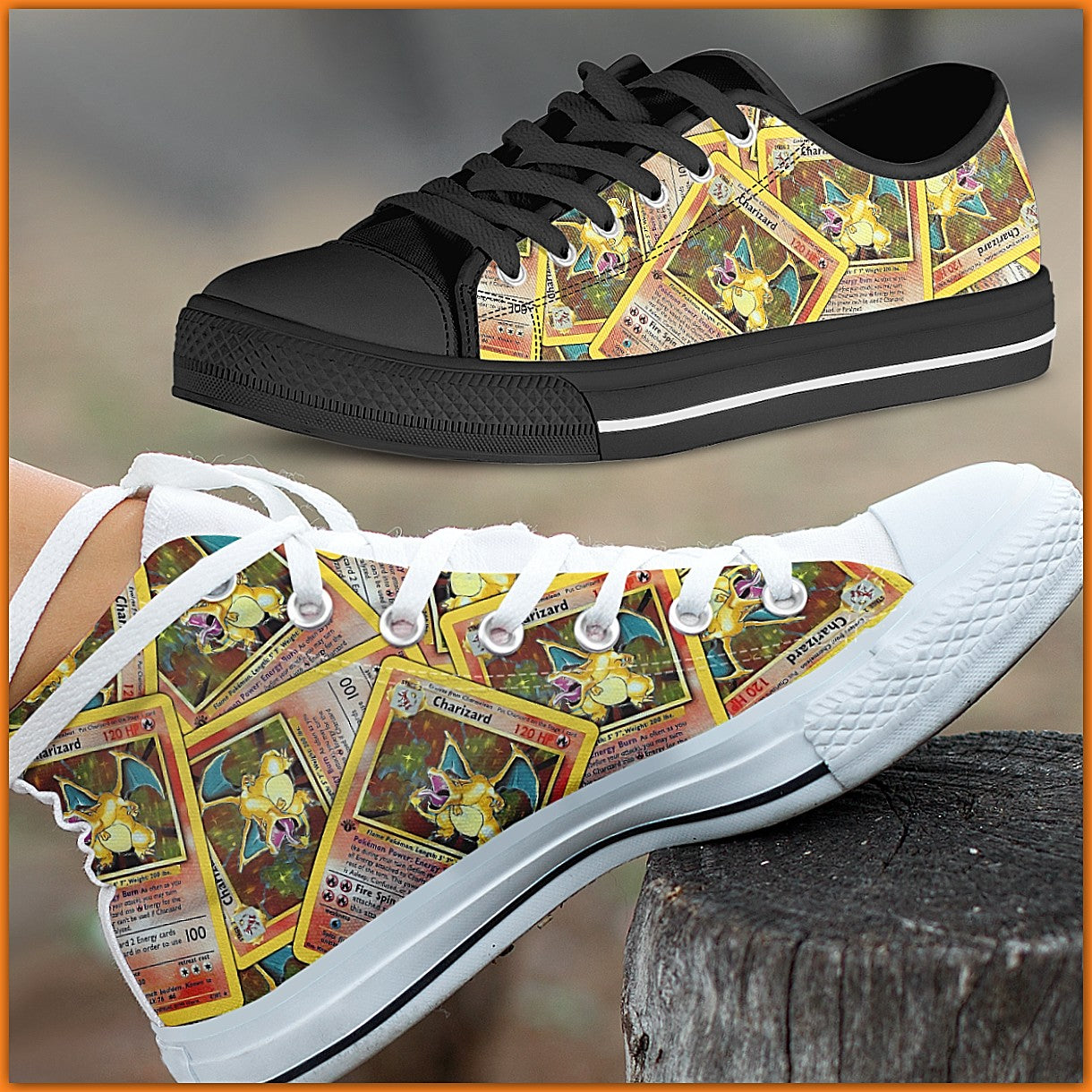 First Edition Charizard Canvas Shoes (High Top & Low Top