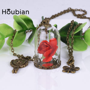 Crystal Necklace Rose Glass Bottle - Yosif Store