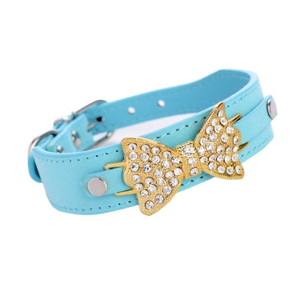Super Collar Bling Crystal With Leather Bow Necklace for Cats and Dogs - Yosif Store