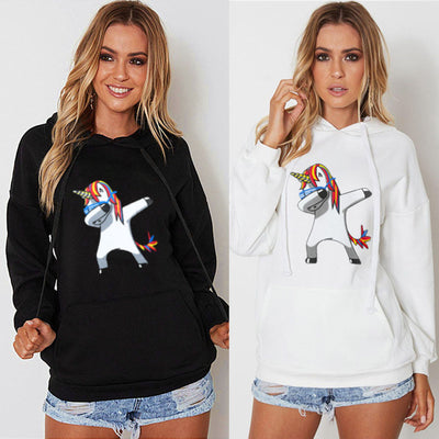 Hooded Unicorn Print Long Sleeve Top - Yosif Store